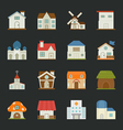 City and town buildings icons flat design vector image