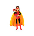 Superhero woman in orange cape with kid in her vector image