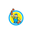 Super Plumber With Plunger Circle Cartoon vector image vector image