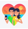 Holiday Selfie Couple 2 vector image
