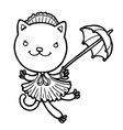 cute kitty in a dress with an umbrella vector image