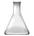 Empty glass beaker on white vector image