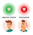 healthy tooth and toothache man with vector image