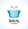 Open book logo witn butterfly horns at the top vector image