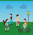 people in the urban park and relaxing in nature vector image