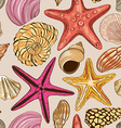 Seamless pattern of seashells and starfish vector image
