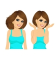 two brunette women with long hairstyle vector image