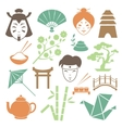 Japanese culture design elements collection vector image