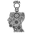 human head gears lightbulb idea vector image vector image