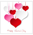 happy valentine with hanging colorful hearts eps10 vector image