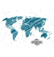 hand drawn blue world map on a white background vector image