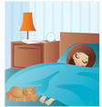 woman cartoon sleeps vector image vector image