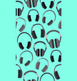 seamless texture with flat headphones on a blue vector image