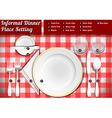 Set of Place Setting Informal Dinner vector image