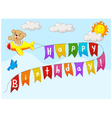 Cute bear on flying plane with message vector image