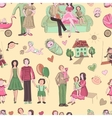 hand drawn seamless pattern with happy families vector image