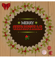 Christmas wooden cut out border vector image vector image