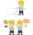 Blonde Rich Boy Customizable Mascot 4 vector image