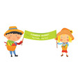 cartoon farmer girl and boy with banner vector image