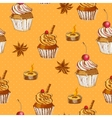 Seamless Background with Cupcake and Cinnamon vector image