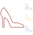 Woman shoe Set of line icons vector image