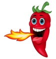 Chili Cartoon Character Breathing Fire vector image