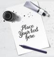 calligraphy tools mockup vector image