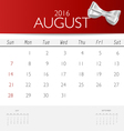 2016 calendar monthly calendar template for August vector image