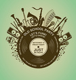 Invitation with musical instruments and vinyl vector image vector image