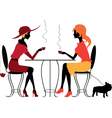 Two women in the cafe vector image