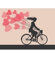 Card with girl on bike vector image