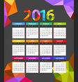 2016 year color calendar template Flat design vector image vector image