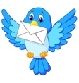 Cute bird cartoon delivering letter vector image