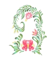Round frame with pink flowers vector image