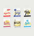 Sketch natural cheese brochures vector image