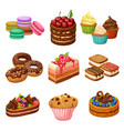 cartoon sweet products elements set vector image