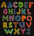 colorful funny acid alphabet on black vector image