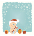 Retro Christmas card with baby Santa vector image