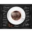 Cup coffee chalk vector image vector image