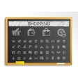 Shopping hand drawing line icons chalk sketch vector image