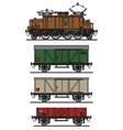 Vintage electric cargo train vector image