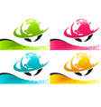 Colorful Earth Logo Icons with Banners vector image
