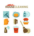 house cleaning washing and mopping tools vector image
