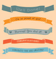 ribbon banner congratulations isolated cute set vector image