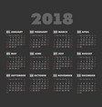 simple 2018 year dark background calendar vector image