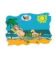 Workaholic on vacation worrying about work vector image