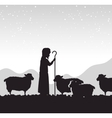 silhouette shepherd sheep manger isolated design vector image