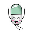 Kawaii cute happy pill pharmaceutical medicine vector image