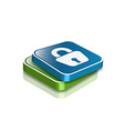 3d glossy lock icon vector image