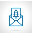 Pine postcard simple line icon vector image